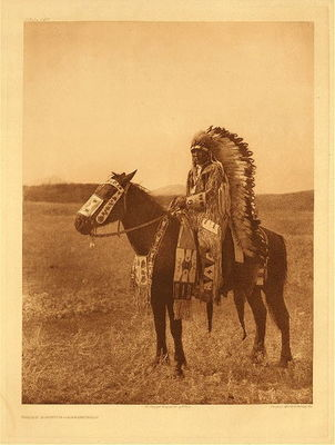 Title:   Plate 629 Chief Hector - Assiniboin , Date: 1910 , Size: Portfolio, 22 x 18 inches , Medium: Vintage Photogravure , Edition: Vintage