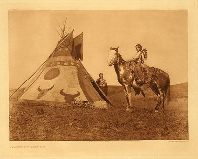 Title:   Plate 633 A Painted Tipi - Assiniboin , Date: 1926 , Size: Portfolio, 18 x 22 inches , Medium: Vintage Photogravure , Edition: Vintage