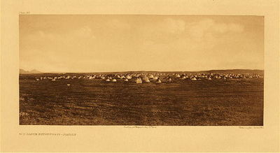 Title:   Plate 192  Sun Dance Encampment - Piegan , Date: 1900 , Size: Portfolio, 18 x 22 inches , Medium: Vintage Photogravure