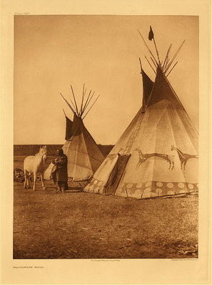 Title:   Plate 642  Blackfoot Tipis , Date: 1926 , Size: Portfolio, 22 x 18 inches , Medium: Vintage Photogravure