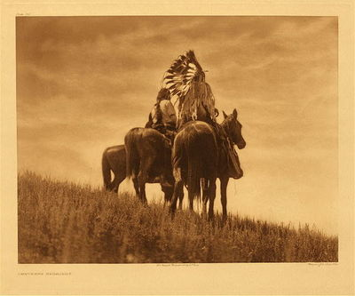 Title:      Plate 215 The Cheyenne Warriors , Date: 1905 , Size: 18 x 22 inches , Medium: Vintage Photogravure