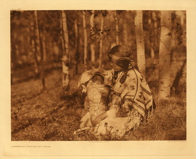 Title:   Plate 632 Assiniboin Mother and Child , Date: 1927 , Size: Portfolio: 18 x 22 inches , Medium: Vintage Photogravure , Edition: Vintage