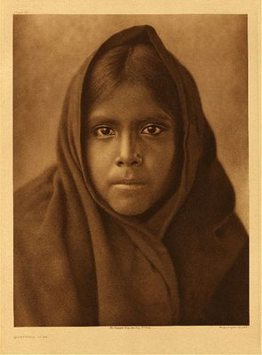 Title: Plate 056 Qahatika Girl , Date: 1907 , Size: 22 x 18 inches , Medium: Vintage Photogravure