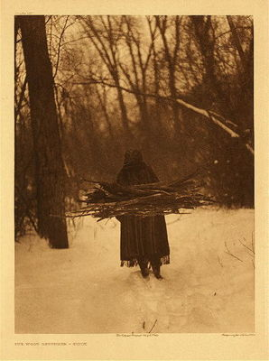 Title: Plate 105 The Wood Gatherer-Sioux , Date: 1908 , Size: Portfolio, 22 x 18 inches , Medium: Vintage Photogravure , Edition: Vintage