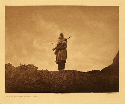 Title: Plate 110 The Mountain-Sheep Hunter-Sioux , Date: 1904 , Size: Portfolio, 18 x 22 inches , Medium: Vintage Photogravure , Edition: Vintage