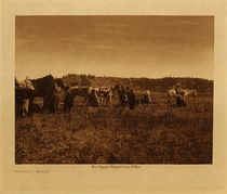 Title: The Halt - Atsina , Date: 1909 , Size: Volume, 9.5 x 12.5 inches , Medium: Vintage Photogravure , Edition: Vintage