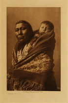 Title: Hidatsa Mother , Date: 1908 , Size: Volume, 12.5 x 9.5 inches , Medium: Vintage Photogravure , Edition: Vintage