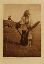 Title: Elk Head and Sacred Pipe Bundle , Date: 1907 , Size: Volume, 12.5 x 9.5 inches , Medium: Vintage Photogravure , Edition: Vintage