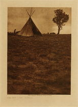 Title: Lone Tree Lodge - Jicarilla , Date: 1904 , Size: Volume, 12.5 x 9.5 inches , Medium: Vintage Photogravure , Edition: Vintage