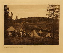 Title: Author's Camp Among The Spokan , Date: 1910 , Size: Volume, 9.5 x 12.5 inches , Medium: Vintage Photogravure , Edition: Vintage