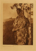 Title: Cree Woman with Fur Robe , Date: 1926 , Size: Volume, 12.5 x 9.5 inches , Medium: Vintage Photogravure , Edition: Vintage
