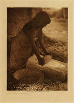 Title: Maricopa Woman Mealing , Date: 1907 , Size: Volume, 12.5 x 9.5 inches , Medium: Vintage Photogravure , Edition: Vintage