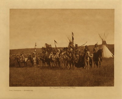 Title: The Parade - Apsaroke , Date: 1908 , Size: Volume, 9.5 x 12.5 inches , Medium: Vintage Photogravure , Edition: Vintage