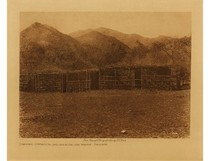 Title: Communal Ceremonial Shelter at Captain Grande - Diegueno , Date: 1924 , Size: Volume, 9.5 x 12.5 inches , Medium: Vintage Photogravure , Edition: Vintage