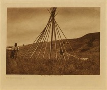 Title: Tipi Construction (A) , Date: 1907 , Size: Volume, 9.5 x 12.5 inches , Medium: Vintage Photogravure , Edition: Vintage
