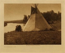 Title: An Assiniboin Lodge , Date: 1908 , Size: Volume, 9.5 x 12.5 inches , Medium: Vintage Photogravure , Edition: Vintage