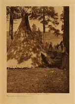 Title: Flathead Buffalo - Skin Lodge , Date: 1910 , Size: Volume, 12.5 x 9.5 inches , Medium: Vintage Photogravure , Edition: Vintage