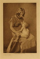Title: A Hopi Mother , Date: 1906 , Size: Volume, 12.5 x 9.5 inches , Medium: Vintage Photogravure , Edition: Vintage
