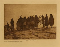 Title: Flute Dancers Returning to Walpi , Date: 1905 , Size: Volume, 9.5 x 12.5 inches , Medium: Vintage Photogravure , Edition: Vintage