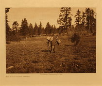 Title: The Root Digger - Yakima , Date: 1909 , Size: Volume, 9.5 x 12.5 inches , Medium: Vintage Photogravure , Edition: Vintage
