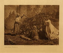 Title: Drying Meat - Flathead , Date: 1910 , Size: Volume, 9.5 x 12.5 inches , Medium: Vintage Photogravure , Edition: Vintage