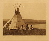 Title: Camp by a Prairie Lake - Piegan , Date: 1911 , Size: Volume, 9.5 x 12.5 inches , Medium: Vintage Photogravure , Edition: Vintage