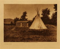 Title: A Piegan Home , Date: 1910 , Size: Volume, 9.5 x 12.5 inches , Medium: Vintage Photogravure , Edition: Vintage