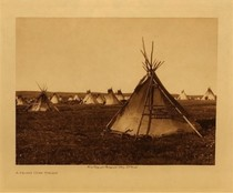 Title: A Prairie Camp - Piegan , Date: 1909 , Size: Volume, 9.5 x 12.5 inches , Medium: Vintage Photogravure , Edition: Vintage