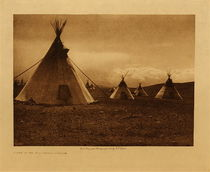 Title: Camp in the Foothills - Piegan , Date: 1905 , Size: Volume, 9.5 x 12.5 inches , Medium: Vintage Photogravure , Edition: Vintage