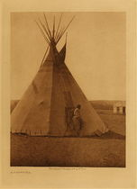 Title: A Piegan Tipi , Date: 1926 , Size: Volume, 12.5 x 9.5 inches , Medium: Vintage Photogravure , Edition: Vintage