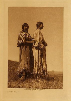 Title: Piegan Girls , Date: 1910 , Size: Volume, 12.5 x 9.5 inches , Medium: Vintage Photogravure , Edition: Vintage