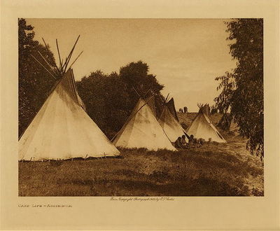Title: Camp Life - Assiniboin , Date: 1910 , Size: Volume, 9.5 x 12.5 inches , Medium: Vintage Photogravure , Edition: Vintage