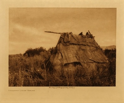 Title: Deserted Lodge - Yakima , Date: 1907 , Size: Volume, 9.5 x 12.5 inches , Medium: Vintage Photogravure , Edition: Vintage