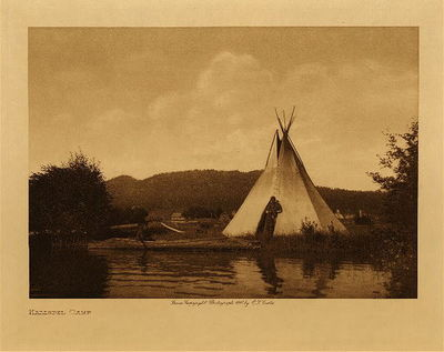Title: Kalispel Camp , Date: 1910 , Size: Volume, 9.5 x 12.5 inches , Medium: Vintage Photogravure , Edition: Vintage