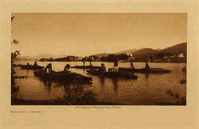 Title: Kalispel Canoes , Date: 1910 , Size: Volume, 9.5 x 12.5 inches , Medium: Vintage Photogravure , Edition: Vintage