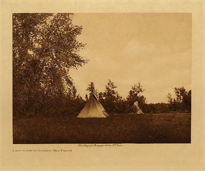 Title: Last Home of Joseph - Nez Perce , Date: 1910 , Size: Volume, 9.5 x 12.5 inches , Medium: Vintage Photogravure , Edition: Vintage