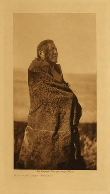 Title: Mountain Chief - Piegan , Date: 1911 , Size: Volume, 12.5 x 9.5 inches , Medium: Vintage Photogravure , Edition: Vintage
