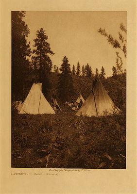 Title: Returning to Camp - Spokan , Date: 1905 , Size: Volume, 12.5 x 9.5 inches , Medium: Vintage Photogravure , Edition: Vintage