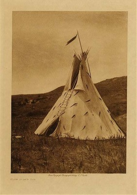 Title: Slow Bull's Tipi , Date: 1908 , Size: Volume, 12.5 x 9.5 inches , Medium: Vintage Photogravure , Edition: Vintage