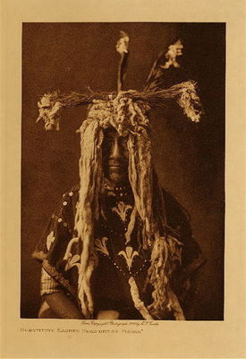 Title: Substitute Sacred Head Dress - Piegan , Date: 1907 , Size: Volume, 12.5 x 9.5 inches , Medium: Vintage Photogravure