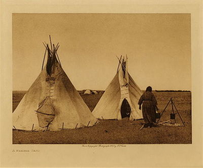 Title: A Prairie Camp , Date: 1908 , Size: Volume, 9.5 x 12.5 inches , Medium: Vintage Photogravure , Edition: Vintage