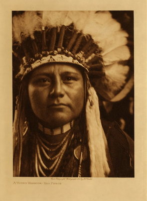 Title: A Young Warrior - Nez Perce , Date: 1910 , Size: Volume, 12.5 x 9.5 inches , Medium: Vintage Photogravure , Edition: Vintage