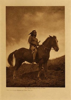 Title: The Old time Warrior - Nez Perce , Date: 1910 , Size: Volume, 12.5 x 9.5 inches , Medium: Vintage Photogravure , Edition: Vintage