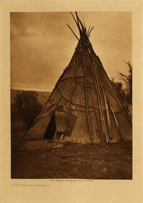 Title: A Mat Lodge - Umatilla , Date: 1910 , Size: Volume, 12.5 x 9.5 inches , Medium: Vintage Photogravure , Edition: Vintage