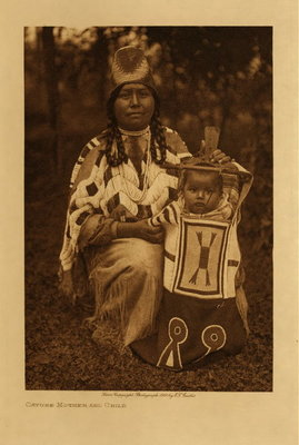 Title: Cayuse Mother and Child , Date: 1910 , Size: Volume, 12.5 x 9.5 inches , Medium: Vintage Photogravure , Edition: Vintage
