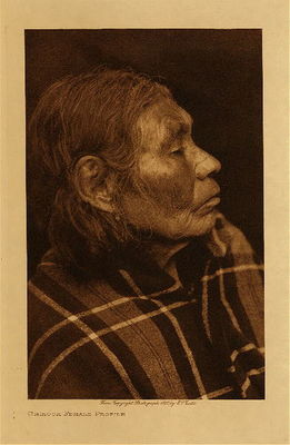 Title: Chinook Female Profile , Date: 1910 , Size: Volume, 12.5 x 9.5 inches , Medium: Vintage Photogravure , Edition: Vintage