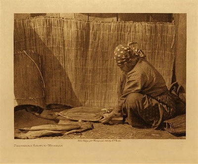Title: Preparing Salmon - Wishham , Date: 1909 , Size: Volume, 9.5 x 12.5 inches , Medium: Vintage Photogravure , Edition: Vintage