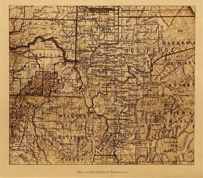 Title: Map of Nez Perce Territory , Date: 1910 , Size: Volume, 9.5 x 12.5 inches , Medium: Vintage Photogravure , Edition: Vintage