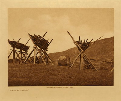 Title: Caches at Celilo , Date: 1909 , Size: Volume, 9.5 x 12.5 inches , Medium: Vintage Photogravure , Edition: Vintage
