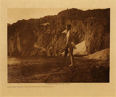 Title: Lewis and Clark's Landing - Place at Nihhluidih , Date: 1909 , Size: Volume, 9.5 x 12.5 inches , Medium: Vintage Photogravure , Edition: Vintage